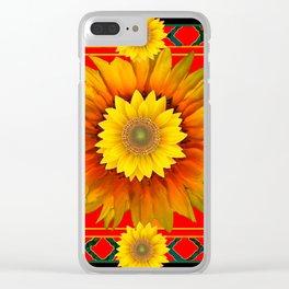 RED-BLACK  KANSAS SUNFLOWERS DECO ART Clear iPhone Case