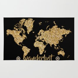 world map gold black wanderlust Rug