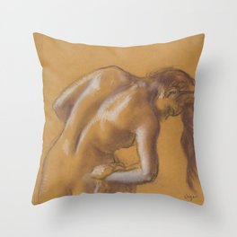 Bather Drying Herself Throw Pillow