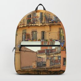 Balconies in Girona, Cataluna, Spain Backpack
