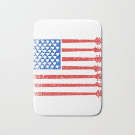 """Guitar Tee """"American Flag Tee """" With An Illustration Of A Guitar Forming A Flag T-shirt Design Bath Mat"""