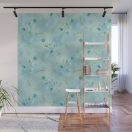 Foliage leaves in shades of blue teal turquoise and aqua Wall Mural
