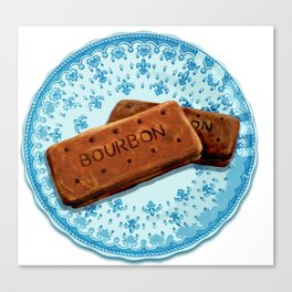 Bourbon biscuits on a plate for tea time Canvas Print