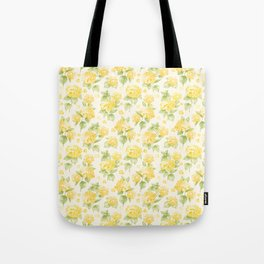 Modern  sunshine yellow green hortensia flowers Tote Bag