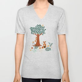 Foxes Playing in the Emerald Forest Unisex V-Neck