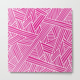 Abstract pink & white Lines and Triangles Pattern-Mix and Match with Simplicity of Life Metal Print