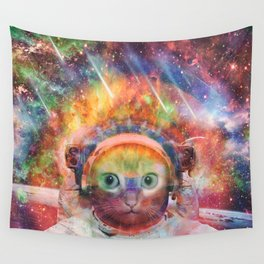 Psychedelic Trippy Cat Astronaut Wall Tapestry