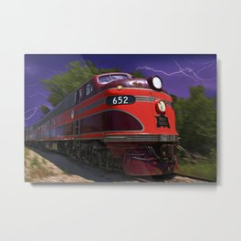 Rock Island Rocket Streamliner Passenger Train in Night Thunderstorm Metal Print