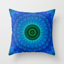 Blue mandala with green middle Throw Pillow