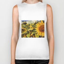 VG style fields of sunflowers Biker Tank