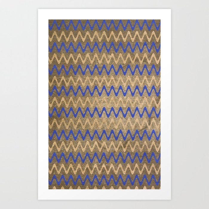 Blue and Tan Zigzag Stripes on Grungy Brown Burlap Graphic Design Art Print