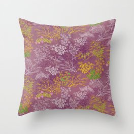 Japanese pattern floral purple Throw Pillow