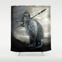 eric fan Shower Curtains featuring Armadillo by Eric Fan & Viviana Gonzalez by Viviana Gonzalez