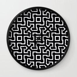 Black and White Ethnic Geometric Pattern Wall Clock