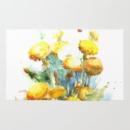 Watercolor yellow dandelion flowers Rug