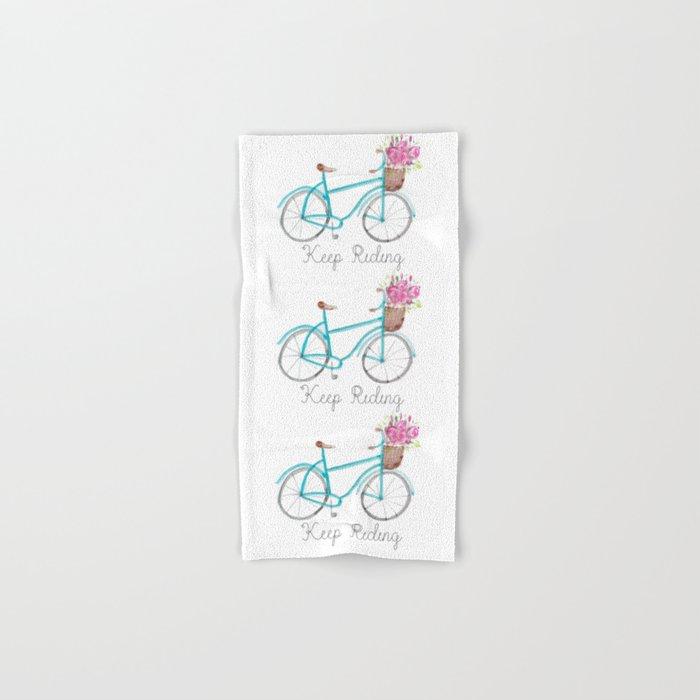 Keep Riding Bike, Watercolor Bike Hand & Bath Towel