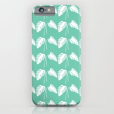 White Monstera Leaf Watercolor on Teal iPhone 6s Slim Case