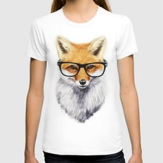 Mr. Fox White Womens Fitted Tee MEDIUM
