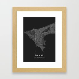 Dakar, Senegal - Dark Map Framed Art Print