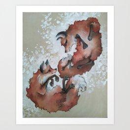 Foxes, snow day Art Print