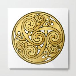 Golden Celtic Medallion Metal Print
