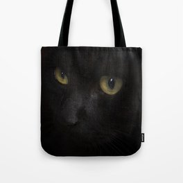 Black cat with yellow eyes Tote Bag