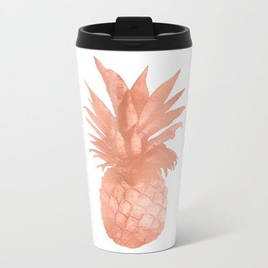Pineapple Rose Gold Metal Travel Mug