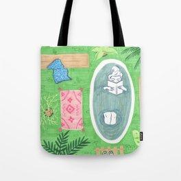 Green Tiled Bath drawing by Amanda Laurel Atkins Tote Bag