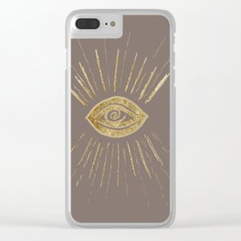 Evil Eye Gold on Brown #1 #drawing #decor #art #society6 Clear iPhone Case