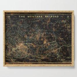 Vintage Montana Railroad Blueprint Serving Tray