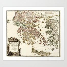 1752 Map of Greece Art Print