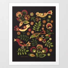 Folk Birds Art Print