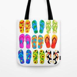 Sandals Colorful Fun Beach Theme Summer Tote Bag