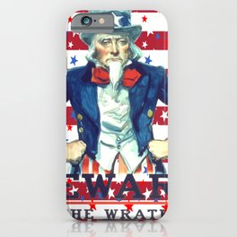 Beware of The Wrath of the Patient Man Stars And Stripes iPhone Case