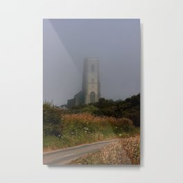Ghostly Happisburgh church in a sea fret Metal Print