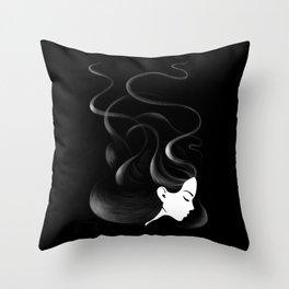 Black hair Throw Pillow