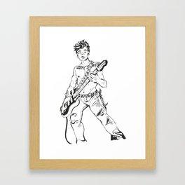 Guitarist Boy Lineart Framed Art Print