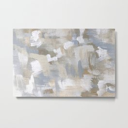 Neutral Abstract Cream and Blue Metal Print