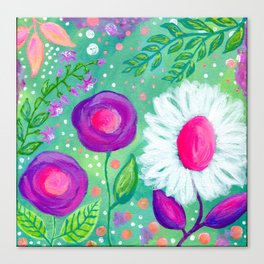 White Flowers, Purple Flowers, Floral Painting for Girl, Nursery Decor, Green, Blue, Coral Art Canvas Print