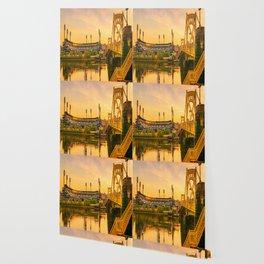 Pittsburgh Ballpark Riverview Sunrise Print Wallpaper