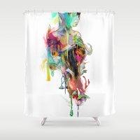 archan nair Shower Curtains featuring Far Away by Archan Nair