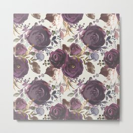 Pastel burgundy violet pink watercolor roses floral Metal Print