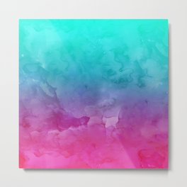Modern bright summer turquoise pink watercolor ombre hand painted background Metal Print