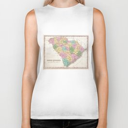 Vintage Map of South Carolina (1827) Biker Tank