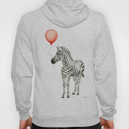 Baby Zebra with Red Balloon Hoody