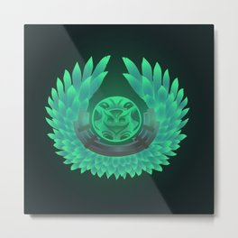 Green wings/owl Metal Print