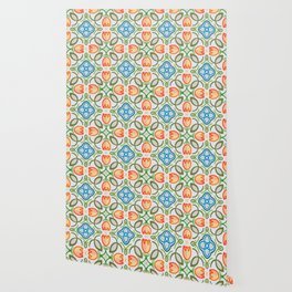 FLOWER TILE DESIGN (ORANGE, TEAL, GREEN) Wallpaper