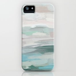 Sage Green Sky Blue Blush Pink Abstract Nature Sky Wall Art, Water Land Painting Print iPhone Case