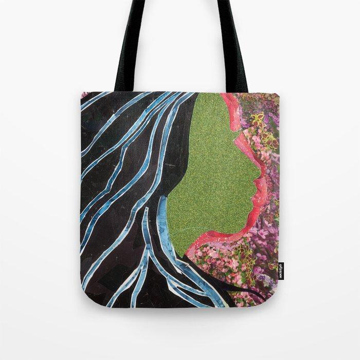 Black Hair Lady Tote Bag