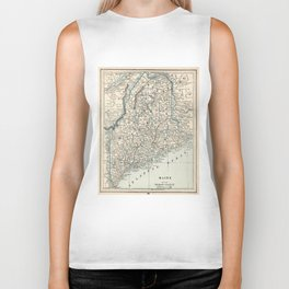 Vintage Map of Maine (1893) Biker Tank